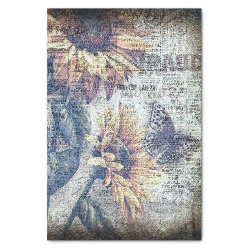Rustic Sunflower Butterfly Ephemeral Decoupage Tissue Paper