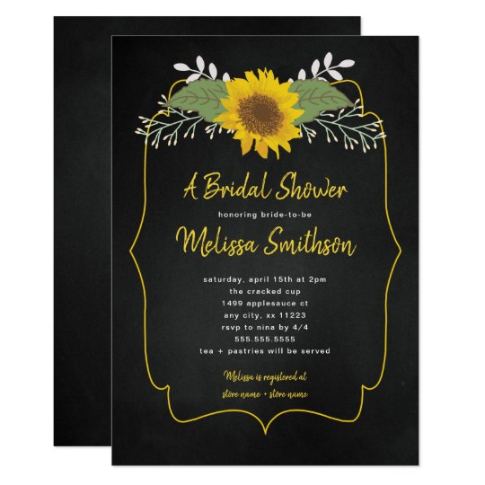 rustic sunflower chalkboard bridal shower invite