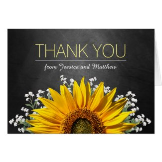 Rustic Sunflower Chalkboard Thank You Card