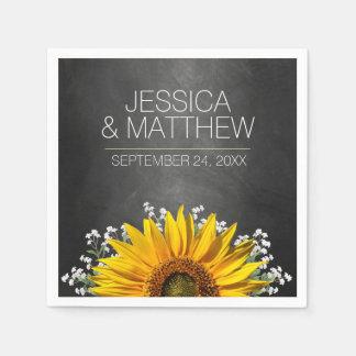 Rustic Sunflower Chalkboard Wedding Paper Napkin