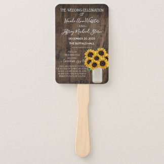 Rustic Sunflower Country Barn Wedding Program Hand Fan
