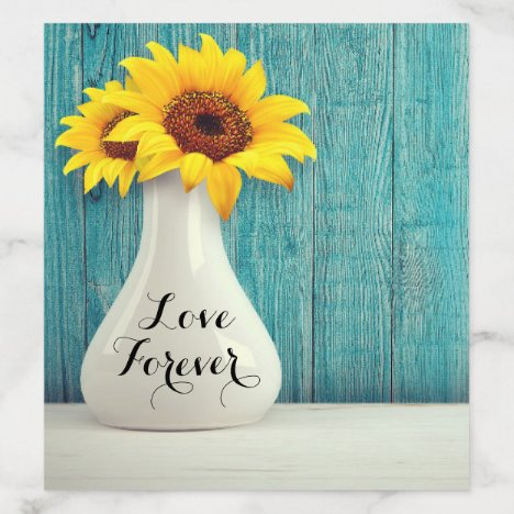 Rustic Sunflower Country Blue Wood Wedding Envelope Liner