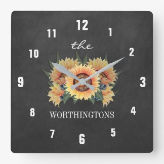 Rustic Sunflower Country Chalkboard Family Name Square Wall Clock