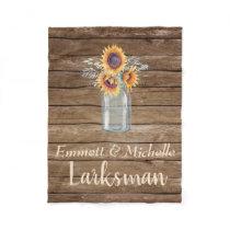 Rustic Sunflower Country Mason Jar Floral Barnyard Fleece Blanket