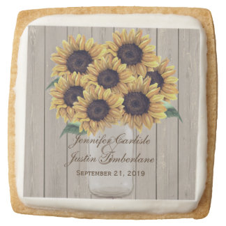 Rustic Sunflower Country Mason Jar Wedding Square Shortbread Cookie