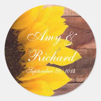 Rustic Sunflower Country Wedding Classic Round Sticker