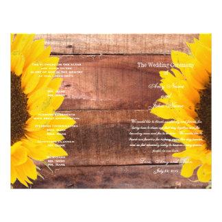 "Rustic Sunflower Country Wedding Program 8.5"" X 11"" Flyer"