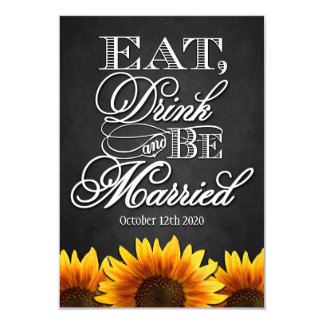 """Rustic Sunflower Country Wedding RSVP Cards 3.5"""" X 5"""" Invitation Card"""