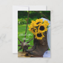 Rustic Sunflower Country Western Wedding Thank You
