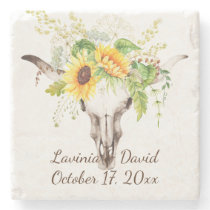 Rustic Sunflower Cow Skull Horns Bouquet Monogram Stone Coaster
