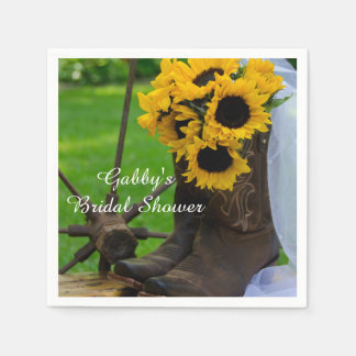 Rustic Sunflower Cowboy Boot Country Bridal Shower Napkin