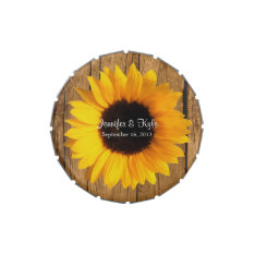 Rustic Sunflower Custom Wedding Candy Tin at Zazzle