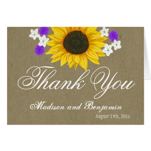 rustic sunflower custom wedding thank you cards zazzle