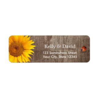 Rustic Sunflower Cute Ladybug Barn Wood Wedding Label