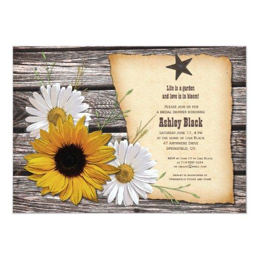 Rustic Sunflower Daisy Bridal Shower Invitation Invites