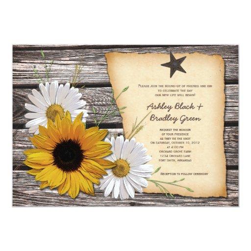 "Rustic Sunflower Daisy Wedding Invitation 5"" X 7"" Invitation Card"