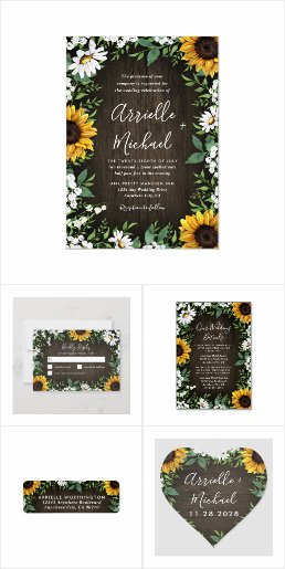 Rustic Sunflower Daisy Wedding Invitations Set