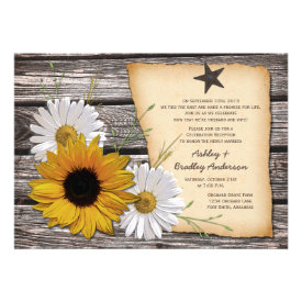 Rustic Sunflower Daisy Wedding Reception Only Custom Invitation