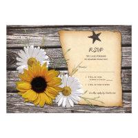 Rustic Sunflower Daisy Wedding Reply Card Invitations (<em>$1.85</em>)