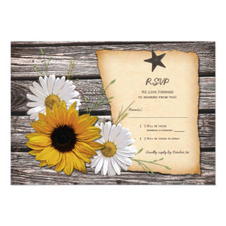 Rustic Sunflower Daisy Wedding Reply Card Invitations