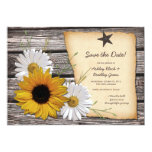 Rustic Sunflower Daisy Wedding Save the Date Card