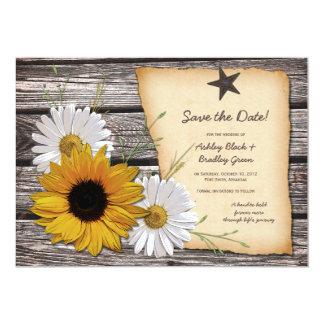 Rustic Sunflower Daisy Wedding Save the Date Custom Invites