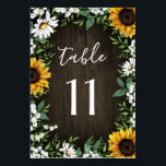 """Rustic Sunflower Daisy Wedding Table Number Cards<br><div class=""""desc"""">Rustic Sunflower Daisy Wedding Table Number Cards  - feature a barn wood background decorated with watercolor daisies,  sunflowers,  greenery,  baby&#39;s breath,  and lily of the valley.</div>"""