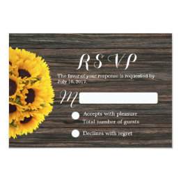 Rustic Sunflower Dark Wood Background Wedding RSVP Card