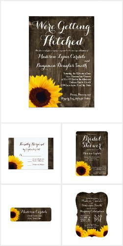 Rustic Sunflower Dark Wood Wedding Invitation Set