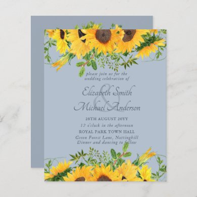 Rustic Sunflower Dusty Blue Themed BUDGET Wedding