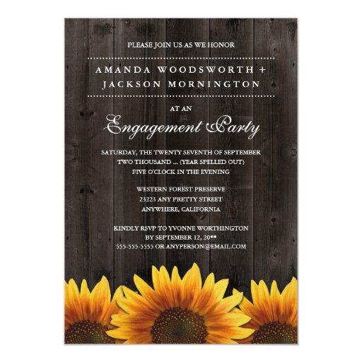 Rustic Sunflower Engagement Party Invitations