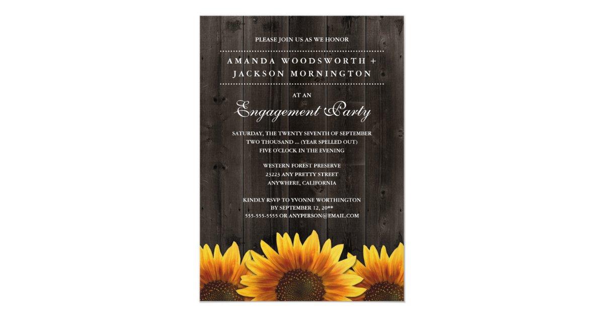 Rustic Sunflower Engagement Party Invitations | Zazzle.com