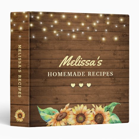Rustic Sunflower Family Recipe Kitchen Meal Book 3 Ring Binder