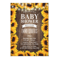 Rustic Sunflower Floral Framed Baby Shower Card