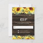 Rustic Sunflower Floral String Lights RSVP Card