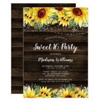 Rustic Sunflower Floral String Lights Sweet 16 Invitation
