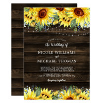 Rustic Sunflower Floral String Lights Wedding Invitation