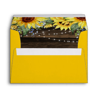 Rustic Sunflower Floral String Lights Yellow Envelope