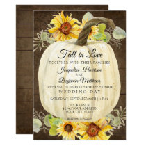 Rustic Sunflower Floral White Pumpkin Rustic Wood Invitation
