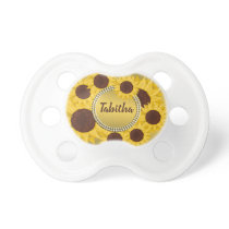 Rustic Sunflower Gold Baby Name Pacifier