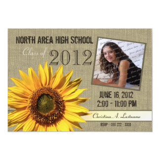 Rustic Sunflower Graduate Photo Card