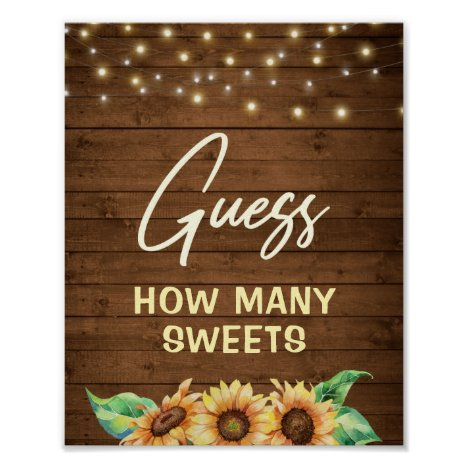 Rustic Sunflower Guess How Many Sweets Treats Game Poster