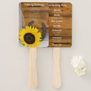 Wedding Themed Rustic Sunflower Horseshoe Country Western Wedding Hand Fan