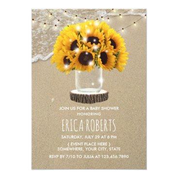 Beach Themed Rustic Sunflower Jar Beach Baby Shower Card