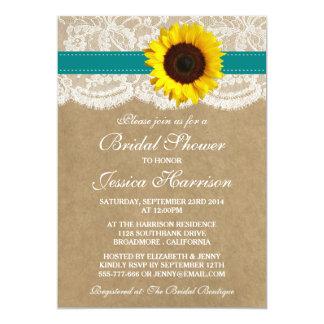 Rustic Sunflower, Kraft & Lace Bridal Shower Card