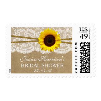 Rustic Sunflower, Kraft & Lace Bridal Shower Postage