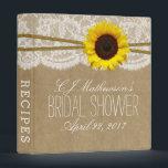 "Rustic Sunflower Kraft &amp; Lace Bridal Shower Recipe 3 Ring Binder<br><div class=""desc"">Rustic Sunflower Kraft &amp; Lace Bridal Shower Recipe Card Binder.</div>"
