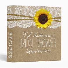 Rustic Sunflower Kraft & Lace Bridal Shower Recipe 3 Ring Binder at Zazzle