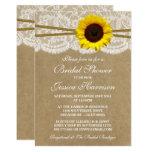 Rustic Sunflower Kraft Lace & Twine Bridal Shower Card