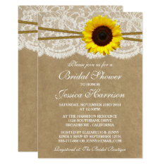 Rustic Sunflower Kraft Lace & Twine Bridal Shower Card at Zazzle